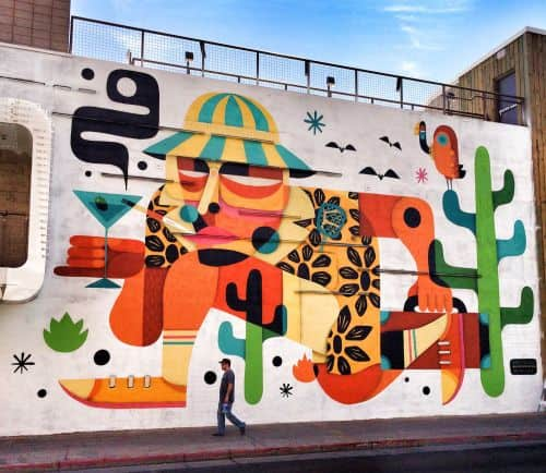 A mural of writer Hunter S. Thompson was painted during the LIFE IS Beautiful festival in Las Vegas.