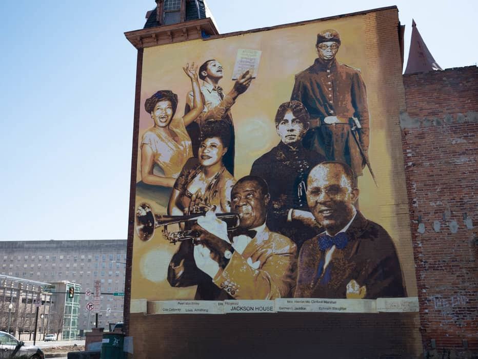 The mural at Jackson House in Harrisburg celebrates notable African Americans who stayed there. (Photo by Bryan Speece)